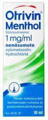 OTRIVIN MENTHOL SÄILYTYSAINEETON 1 mg/ml nenäsumute, liuos 10 ml